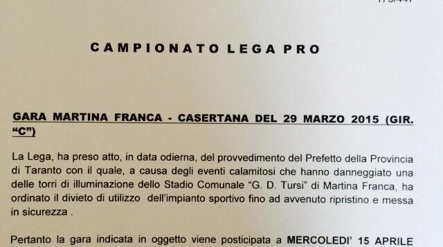 comunicato ufficiale Lega Pro