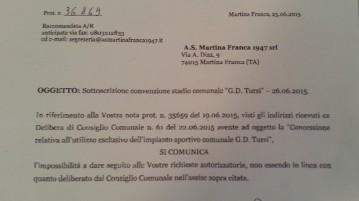 rigettata la richiesta di utilizzo dell'impianto Tursi avanzata dall'As Martina Franca 1947